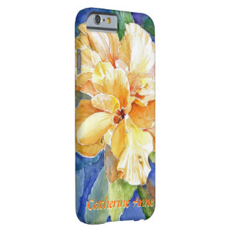 Giant Yellow Gardenia on Blue Background Your Name Barely There iPhone 6 Case