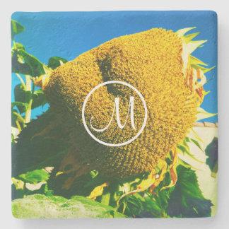 Giant yellow sunflower photo custom monogram stone coaster
