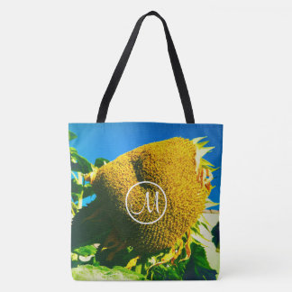 Giant yellow sunflower photo custom monogram tote bag