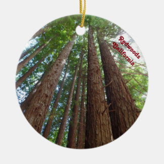 Giantic Redwood Trees National Forest California Round Ceramic Ornament