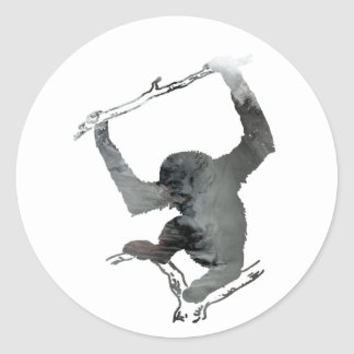 Gibbon art classic round sticker