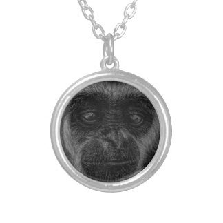 Gibbon wildlife indonesia mammal silver plated necklace