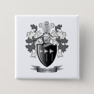 Gibbs Family Crest Coat of Arms 2 Inch Square Button