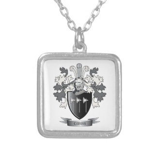 Gibbs Family Crest Coat of Arms Silver Plated Necklace