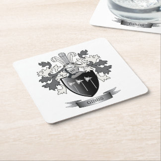 Gibbs Family Crest Coat of Arms Square Paper Coaster