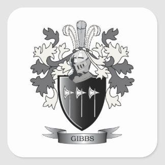 Gibbs Family Crest Coat of Arms Square Sticker