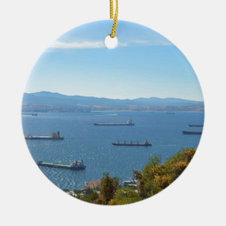 Gibraltar Anchorage From Above Round Ceramic Ornament