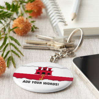 Gibraltar flag basic round button keychain