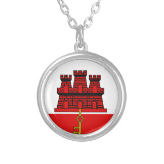 Gibraltar Flag Silver Plated Necklace