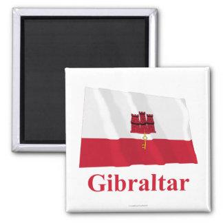 Gibraltar Waving Flag with Name Magnet