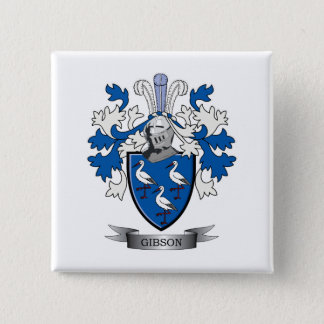 Gibson Family Crest Coat of Arms 2 Inch Square Button