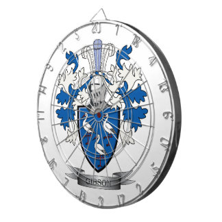 Gibson Family Crest Coat of Arms Dartboard