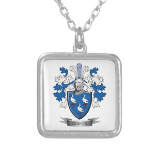 Gibson Family Crest Coat of Arms Silver Plated Necklace