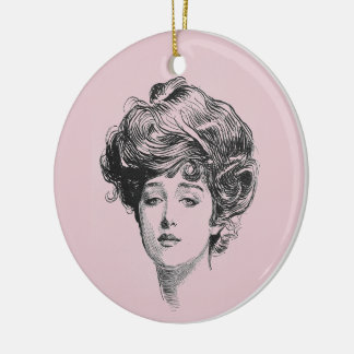 Gibson Girl In Pink Ceramic Ornament