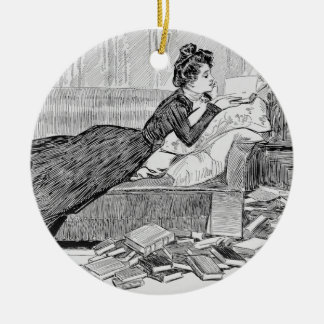 Gibson Girl Reading Ceramic Ornament