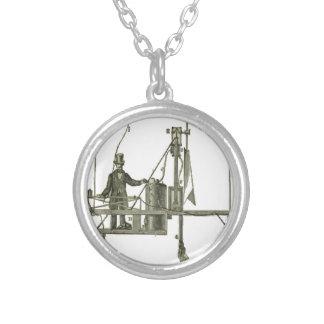 Giffard_-_Machine_à_vapeur_de_l'aérostat Silver Plated Necklace