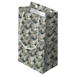 Gift Bag Covered With White Poinsettias