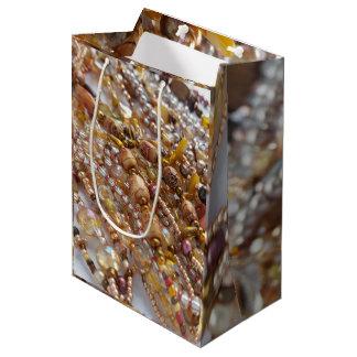 Gift Bag- Earth Tones Bead Print Medium Gift Bag