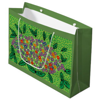 gift bag floral design green