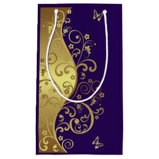 Gift Bag--Gold Swirls & Dark Purple Small Gift Bag