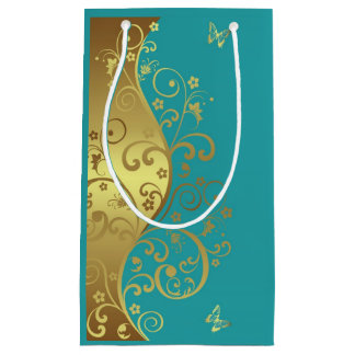 Gift Bag--Gold Swirls & Teal Small Gift Bag