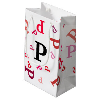 Gift Bag - Jumbled Letters in Reds and Pinks