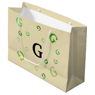 Gift Bag (Lrg) - Jumbled Letters in Greens