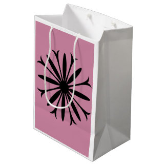 Gift Bag - Medium BLACK & WHITE FLOWER LOGO