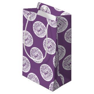 Gift bag purple with multi languages peace