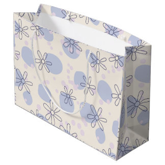 Gift bag with vintage blue flowers