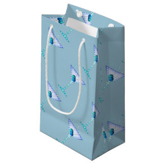 GIFT BAGS, BLUE MARTINI DESIGN SMALL GIFT BAG
