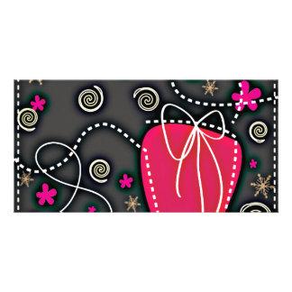 Gift Box PINK BLACK WHITE EMO GIRLY BACKGROUNDS WA Photo Card