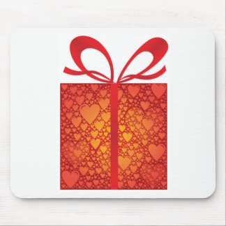 Gift Box Ribbon Hearts Red Happy Birthday Mouse Pad