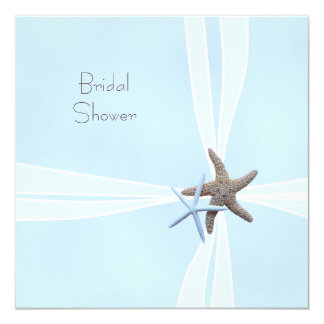 Gift Box Starfish Square Shower Invitations