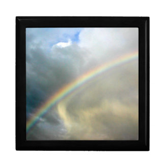 Gift box with photo of pretty rainbow