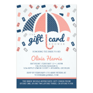 "Gift Card Bridal Shower Invitation, Navy, Coral 5"" X 7"" Invitation Card"