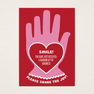 Gift Card: Random Act of Kindness in Red & Pink Business Card