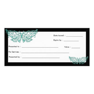 Gift Certificate :: Beautiful Turquoise Butterfly Custom Rack Card