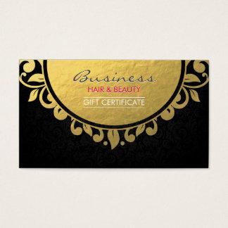 Gift Certificate Black & Gold Foil Floral Framed