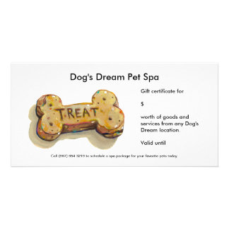 Gift certificate card for dog business groomer spa customized photo card
