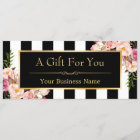Gift Certificate Gold Floral Black & White Stripes
