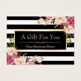 Custom floral business cards zazzle gift certificate gold floral black white stripes yadclub Choice Image