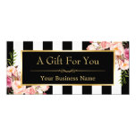 "Gift Certificate Gold Floral Black & White Stripes 4"" X 9.25"" Invitation Card"