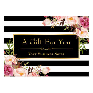 Gift Certificate Gold Floral Black White Stripes Large Business Card