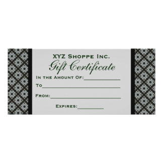 Gift Certificate Grey Pattern Rack Card Template