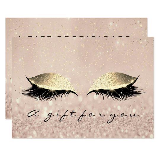 Gift Certificate Makeup Artist Gold Lash Beauty Card