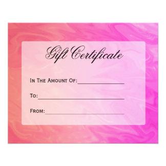 Gift Certificate Pink Orange Design Flyer