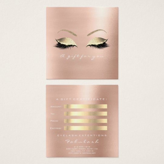 Gift Certificate Rose Glitter Gold Lashes Makeup