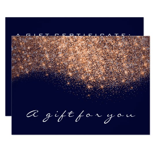 Gift Certificate Rose Gold Glitter Copper Blue Nav Card