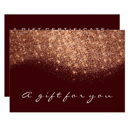 Gift Certificate Rose Gold Glitter Copper Burgundy Card